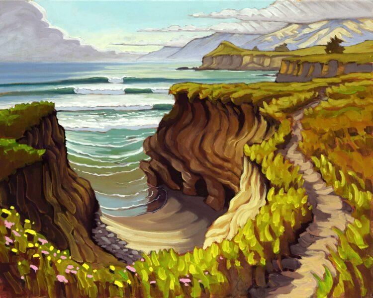 Plein air artwork from the trail to Sierra Nevada point on the san luis obispo county coast of central california