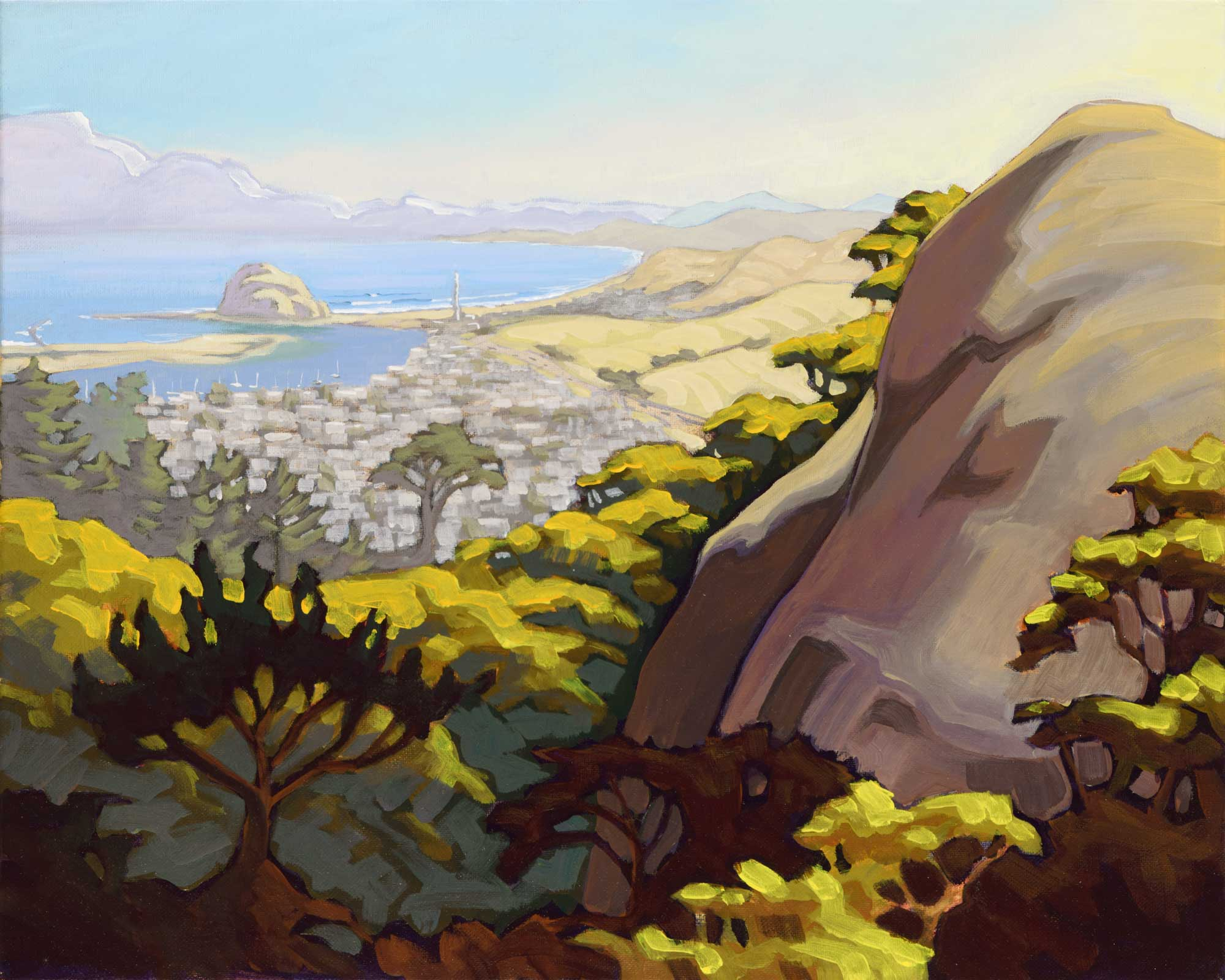 Plein air artwork showing the view of Morro Bay and Morro Rock from Black mountain on the central California coast