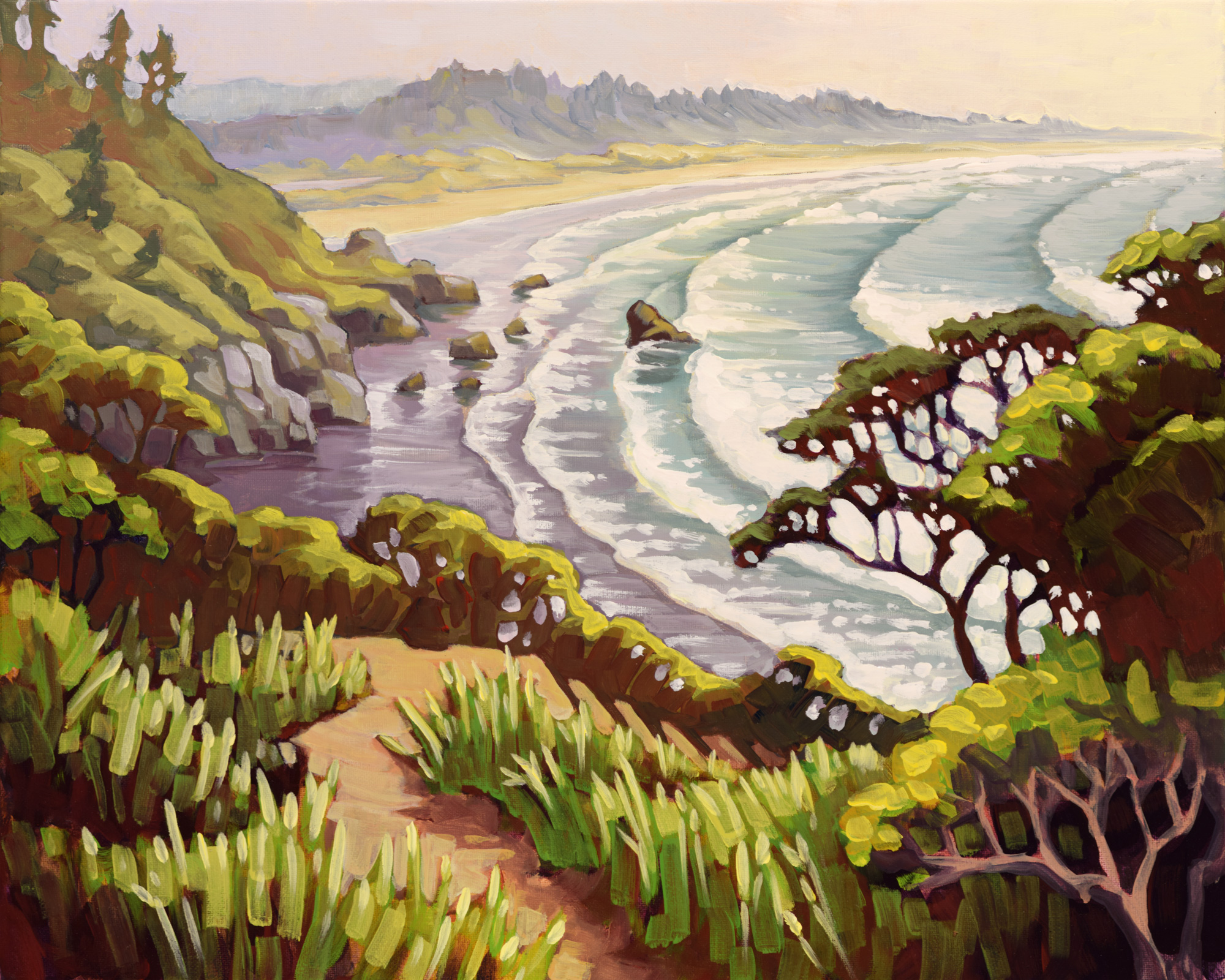 Plein air artwork from Houda Point looking toward Moonstone Beach on the Humboldt coast of Northern California
