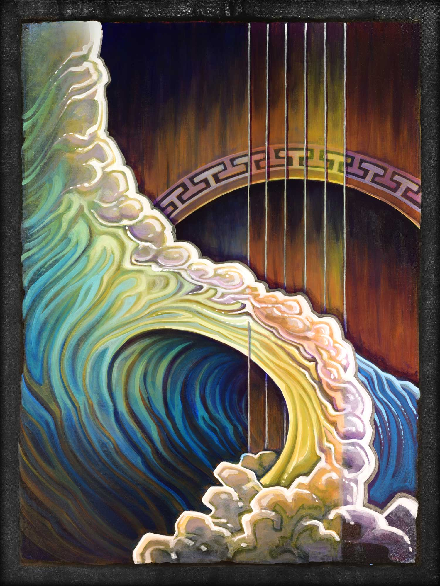 Live art painting of a guitar wave from the Redwood Coast music festival in eureka, California