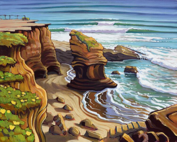 Plein air artwork from Sunset Cliffs on the san diego coastline of southern California