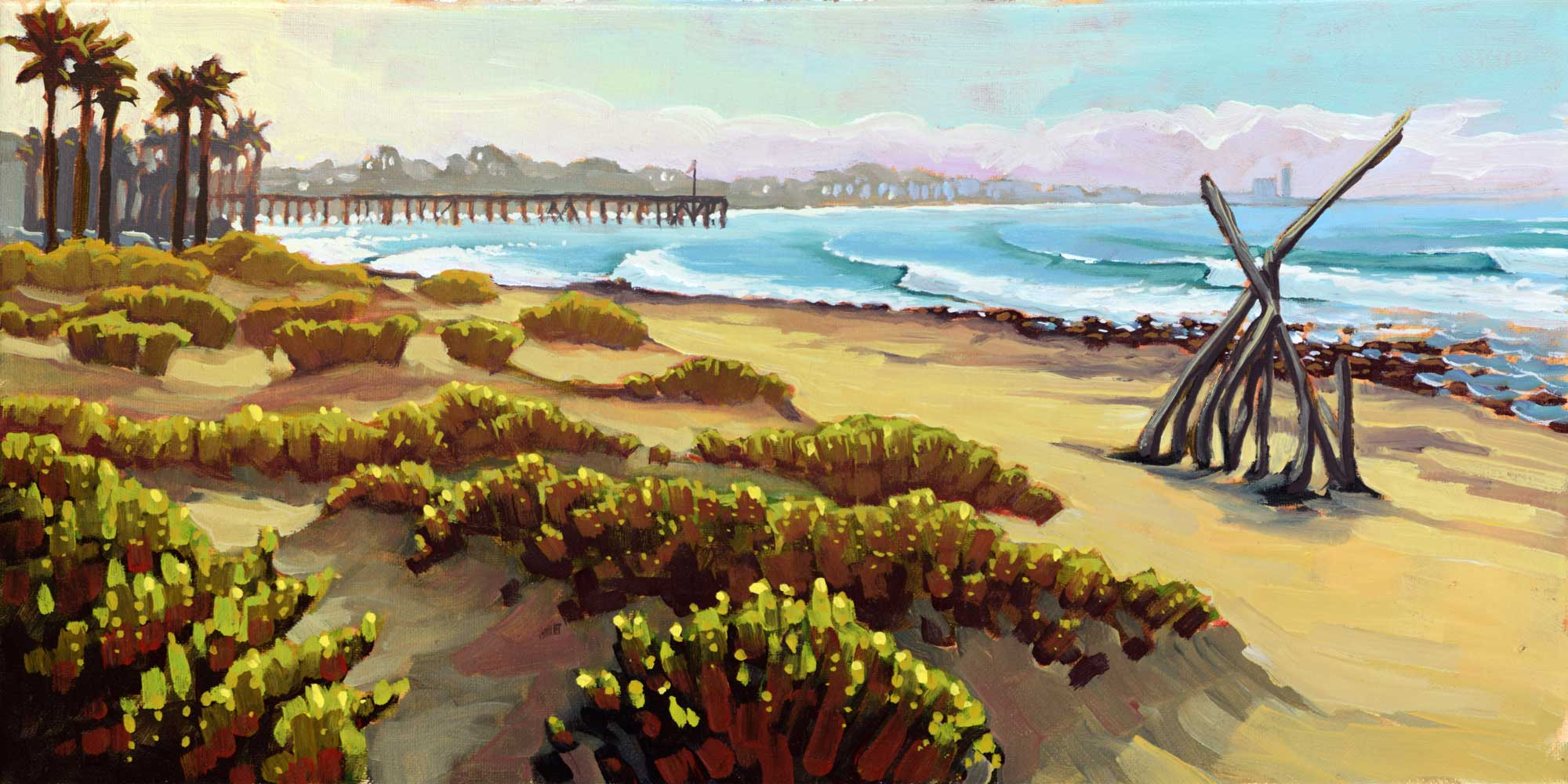 Plein air artwork of Surfer's Point at the County Fairgrounds on the Ventura coast of southern California
