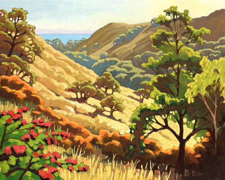 Plein air artwork looking down a canyon toward the coast on the Santa Barbara coast of southern California