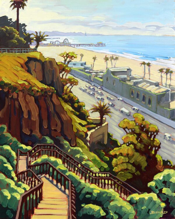 Plein air artwork from Pacific Palisades overlooking Santa Monica beach and Pier on the LA coast of southern California