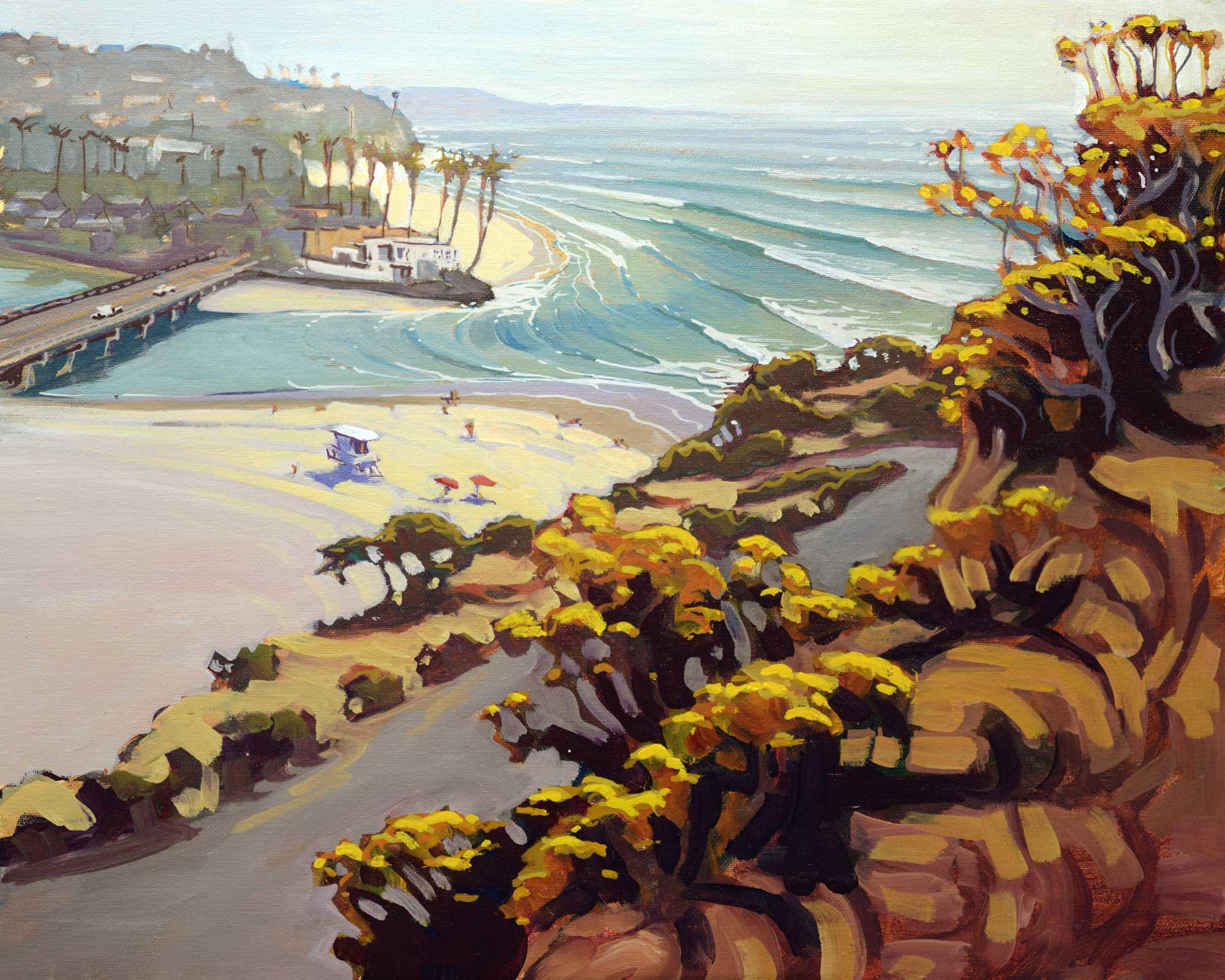 Plein air artwork of Dog Beach at the mouth of the Del Mar Lagoon on the San Diego coast of southern California