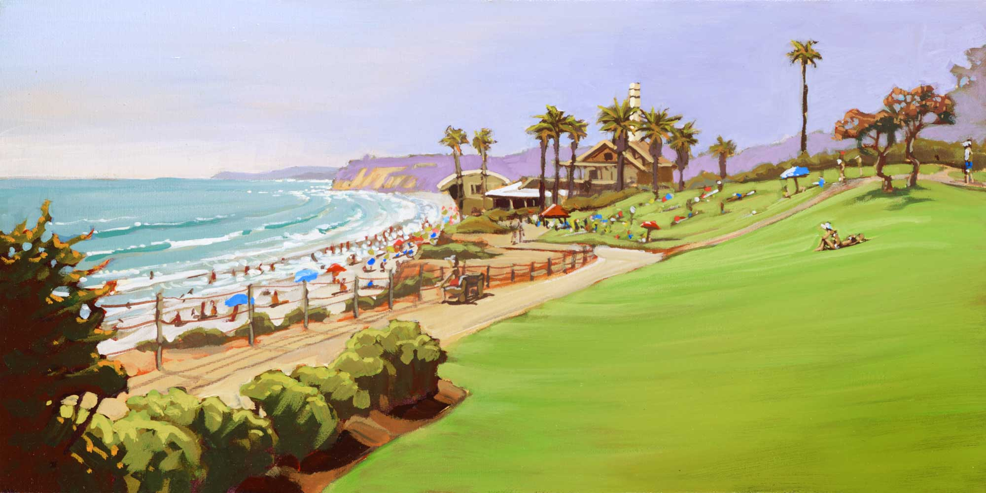 Plein air artwork of the Powerhouse at Del Mar on the san Diego coast of southern California