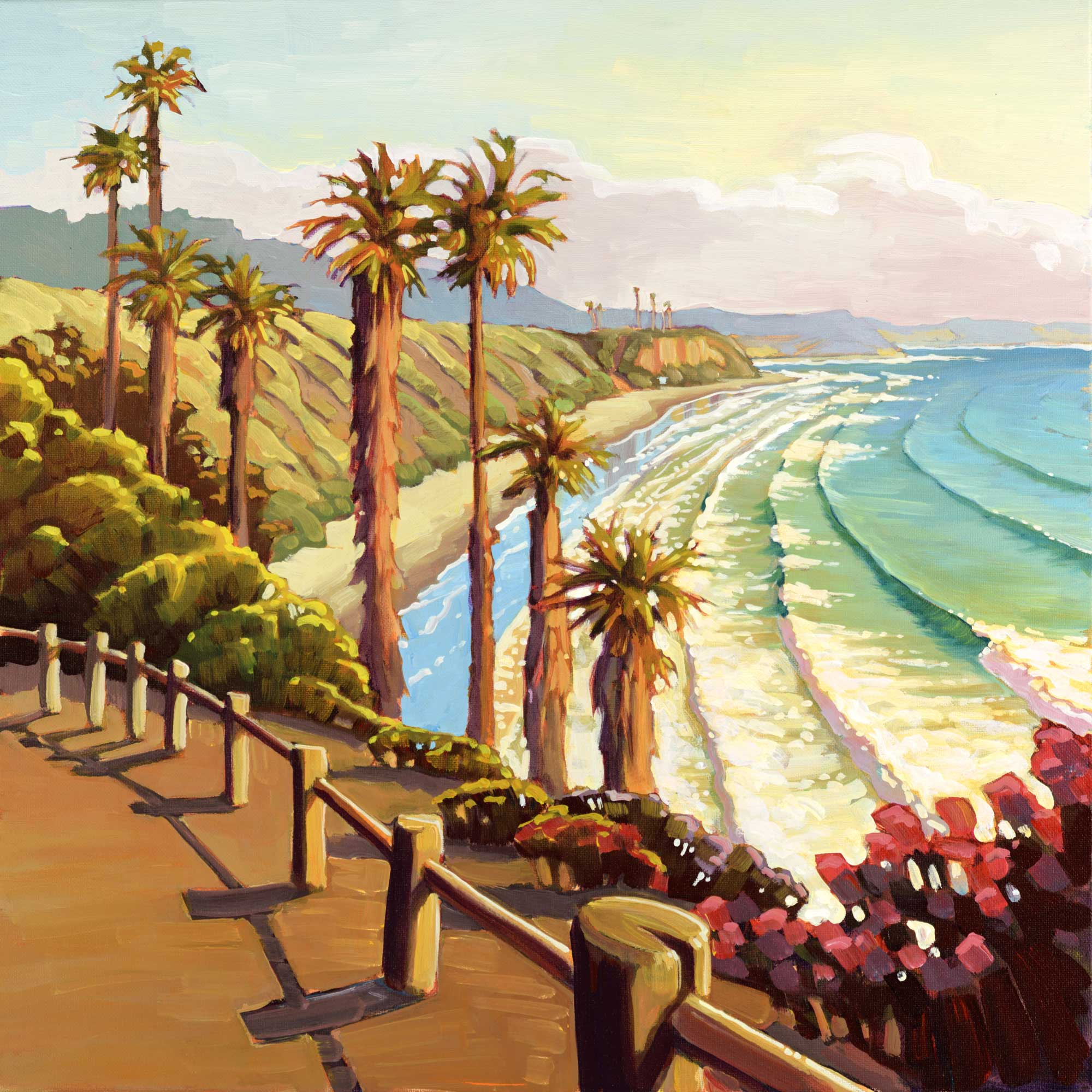 Plein air artwork from the Swami's Beach carpark in Encinitas on the San Diego coast of southern California