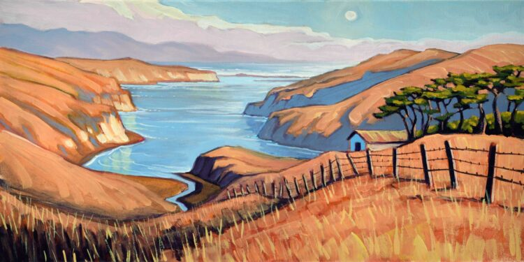 Plein air painting of a cattle ranch at Drake's Estero at Point Reyes National Park on the Marin coast of California