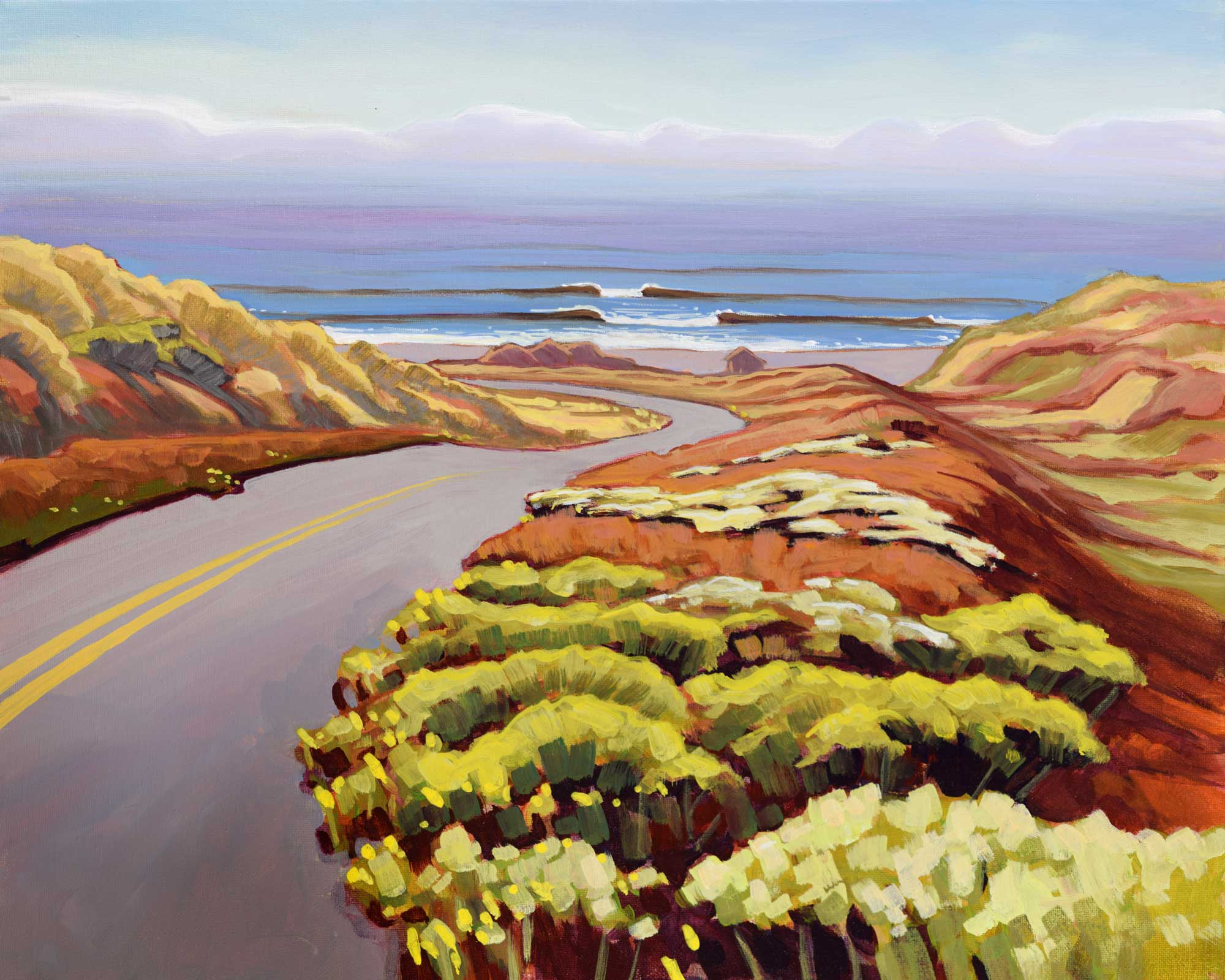 Plein air painting of a road to the beach at Point Reyes National Park on the Marin coast of Northern California