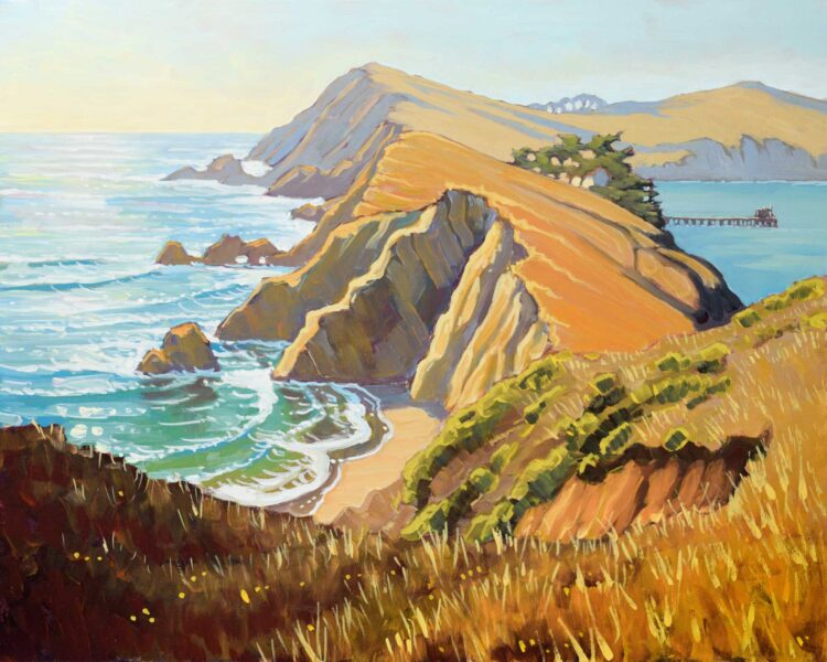 Plein air artwork of Point Reyes National Park on the Marin coast of northern California
