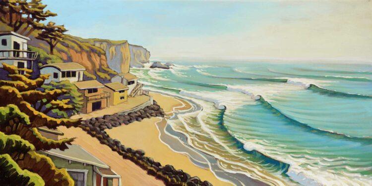 Plein air artwork of the north end of Martin's beach on the San Mateo coast of Central California