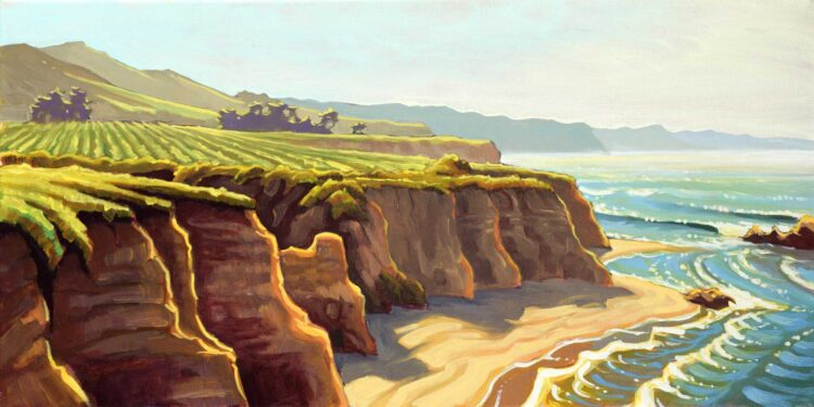 Plein air artwork from the hiking trails at Purisima point on the San Mateo coast of Central California