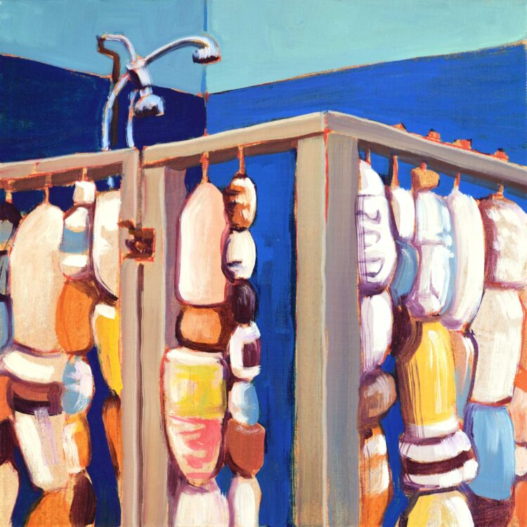 Painting of a shower made of marine debris outside a beach house on the central california coast