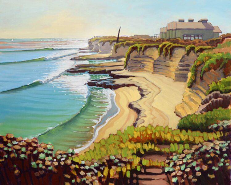 Plein air artwork looking toward the Long Marine Lab on the Santa Cruz coast of Central California