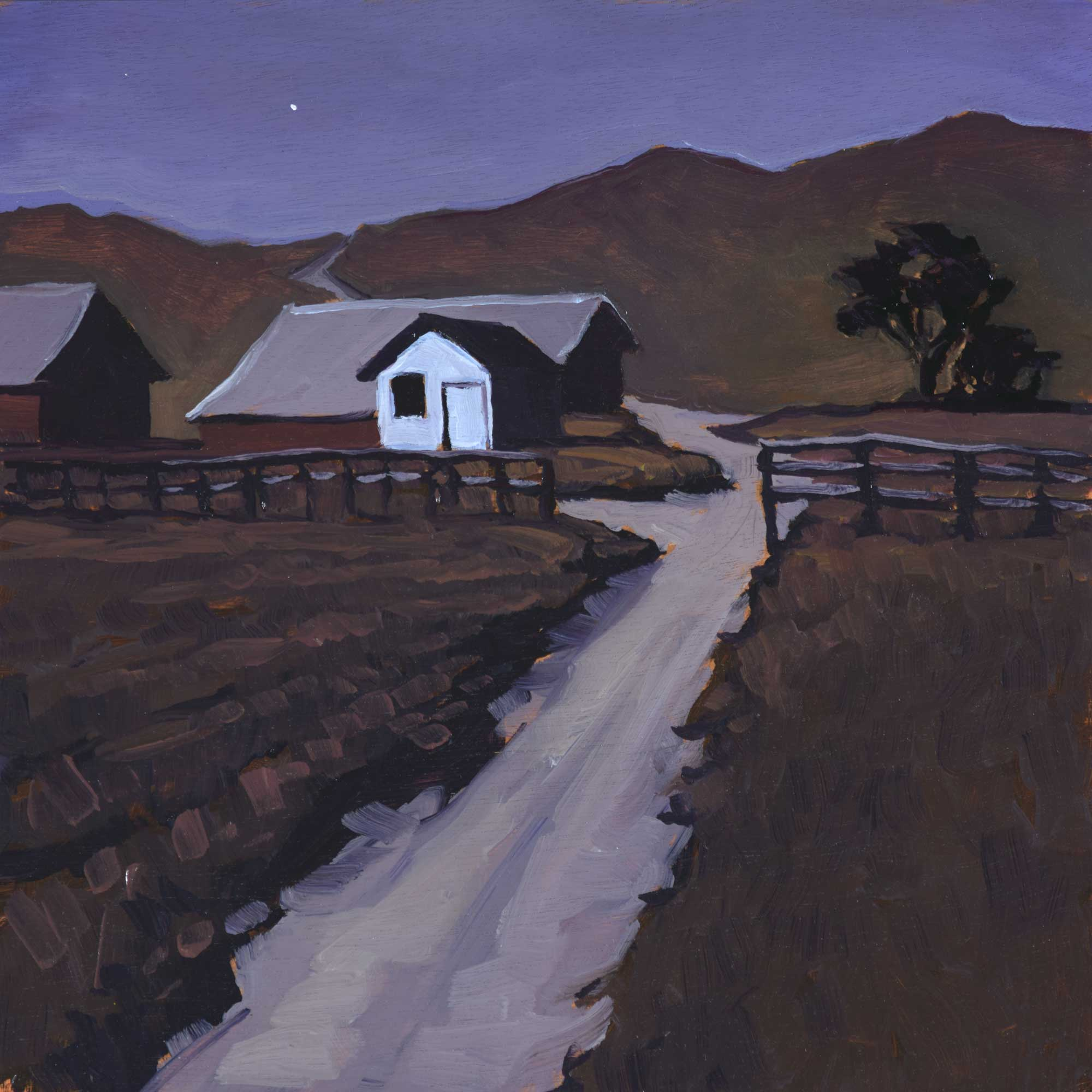 Plein air nocturne artwork of old schoolhouse at Becher's Bay on Santa Rosa Island off the coast of California