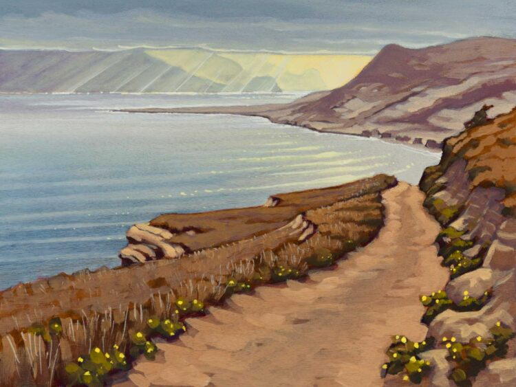 Plein air artwork from the trail to Skunk Point on Santa Rosa Island off the coast of southern California