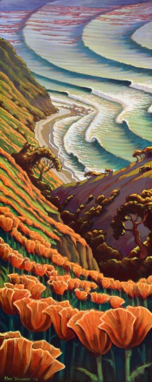 A tribute painting to the California poppies and coast painted on a surfboard