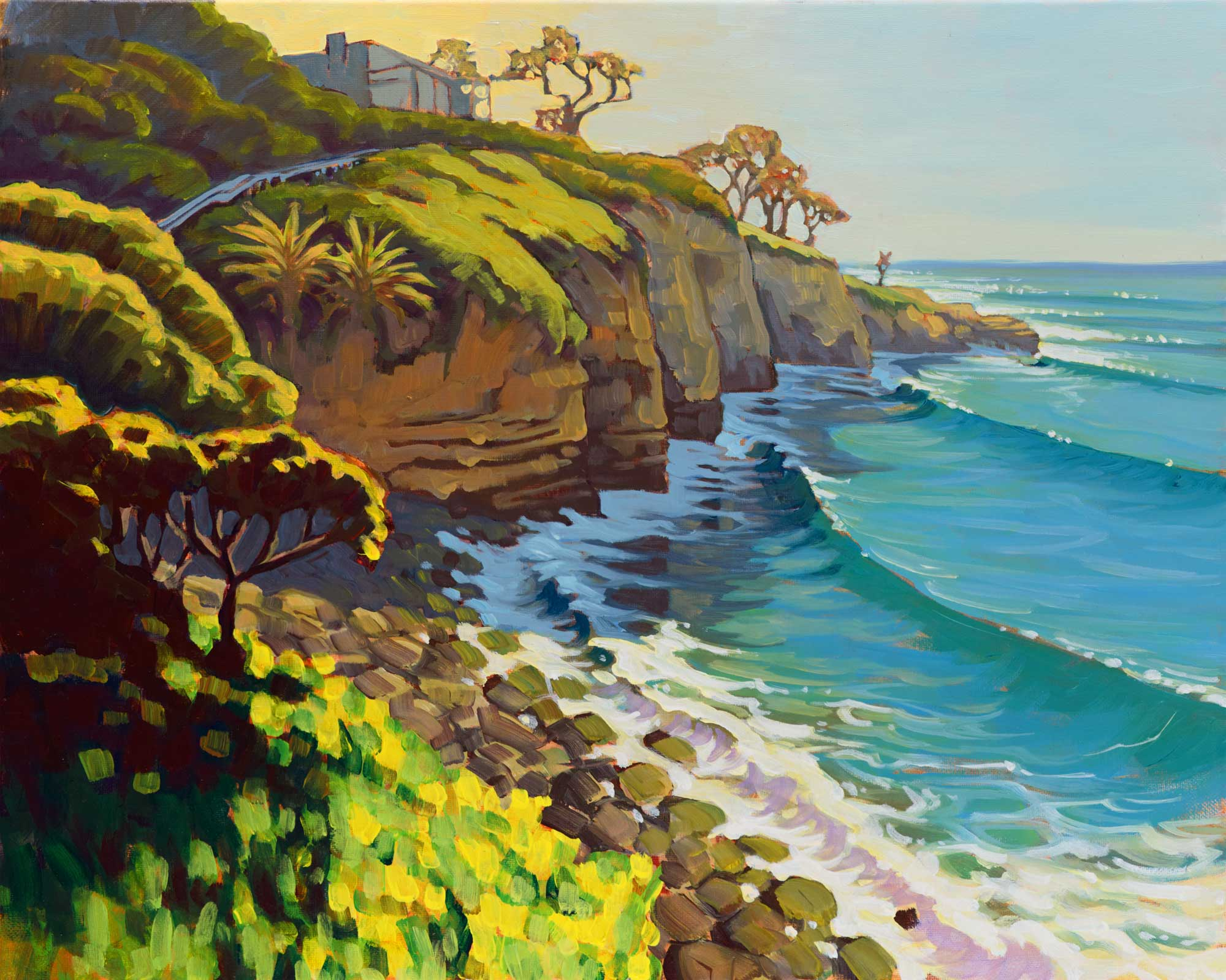 Plein air artwork from La Jolla cove on the San Diego coast of Southern California