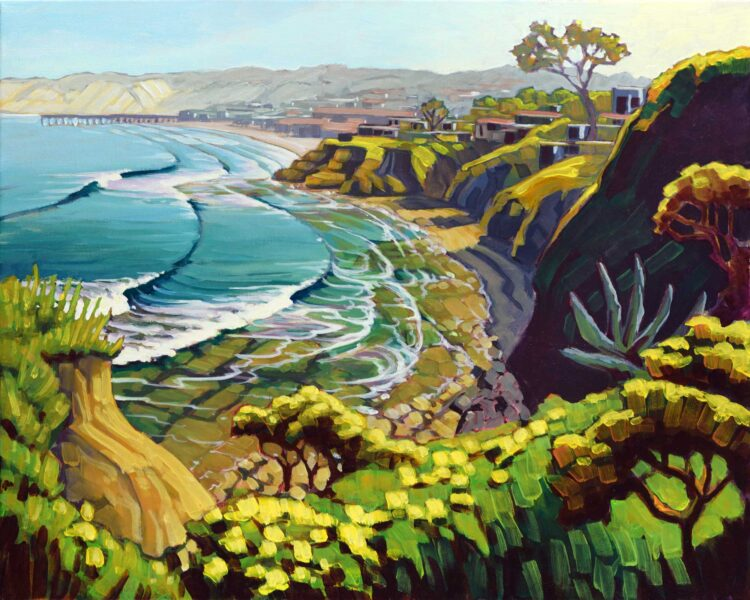 Plein air artwork from La Jolla cove looking toward the Shores on the san Diego Coast of southern California