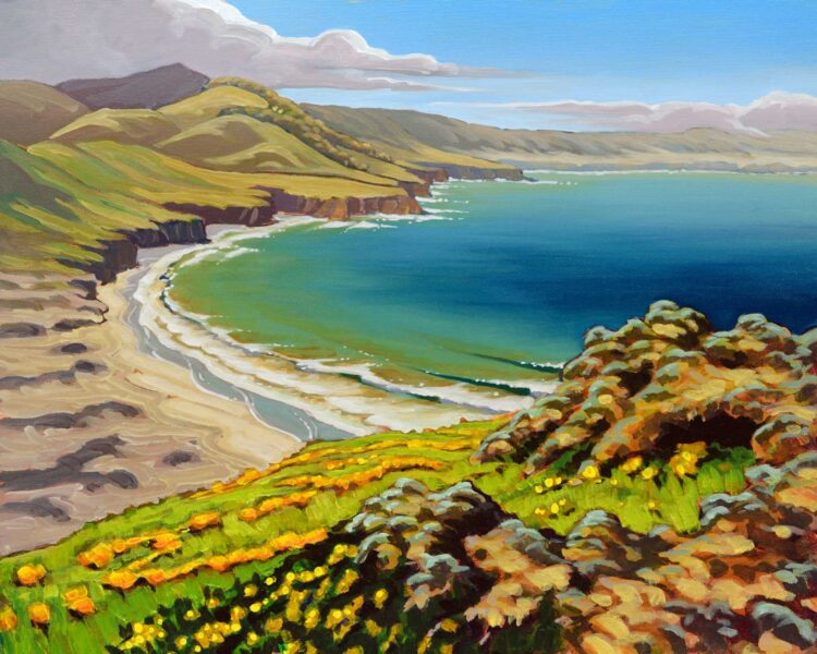 Plein air painting from a volcanic hill on Santa Rosa Island in the Channel Islands National Park in southern California