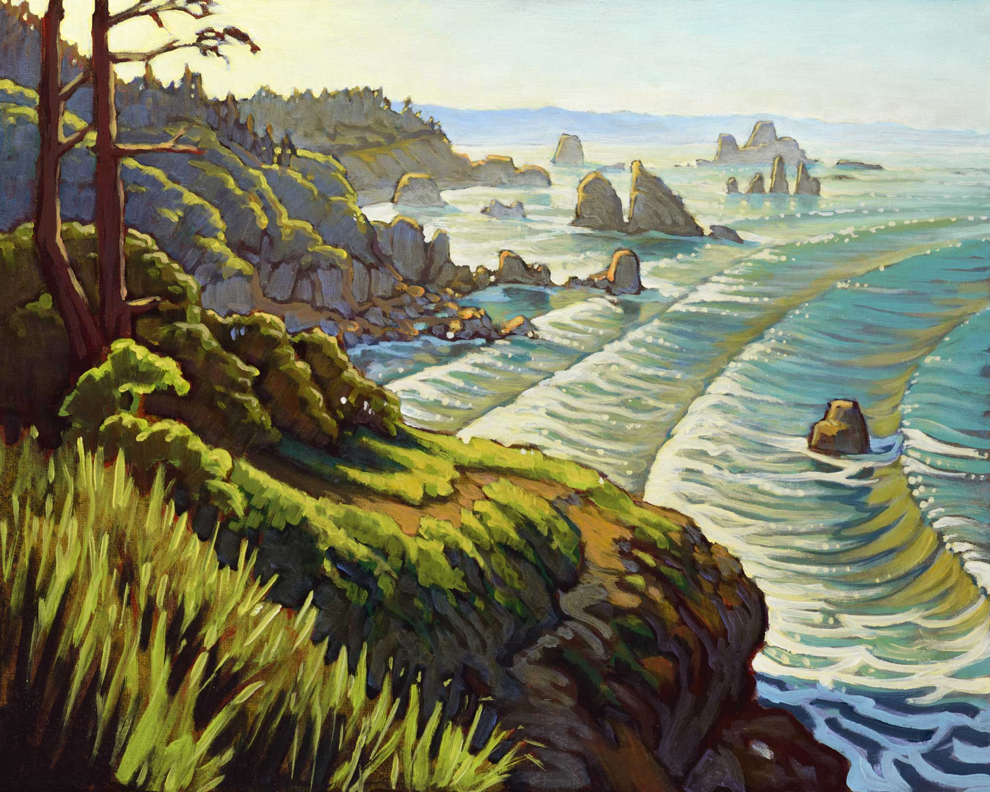 Plein air artwork from the Trinidad coast of Humboldt county in northern California