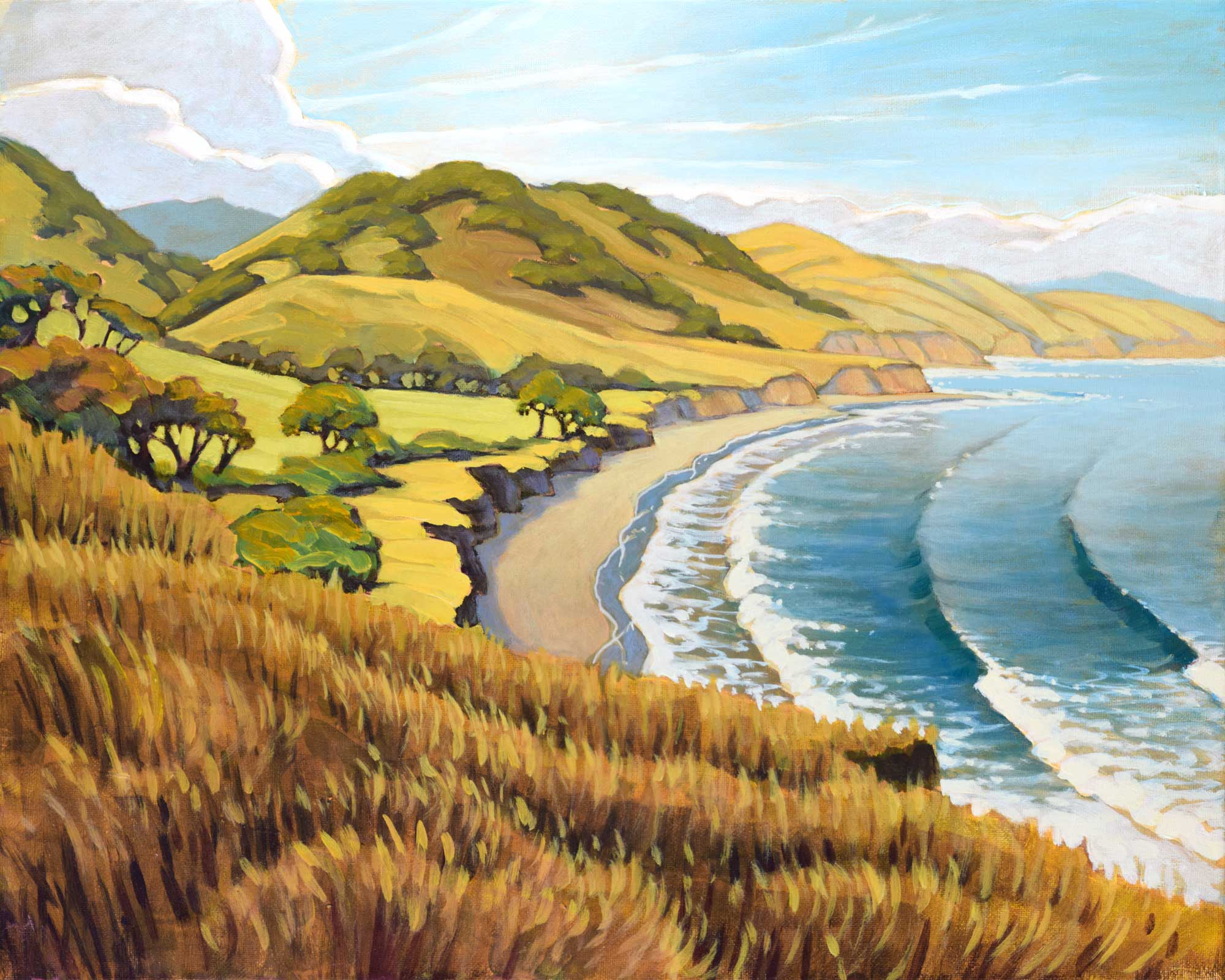 Plein air artwork from the bluff over Bolito Poin on Hollister Ranch on the Santa Barbara coast of California
