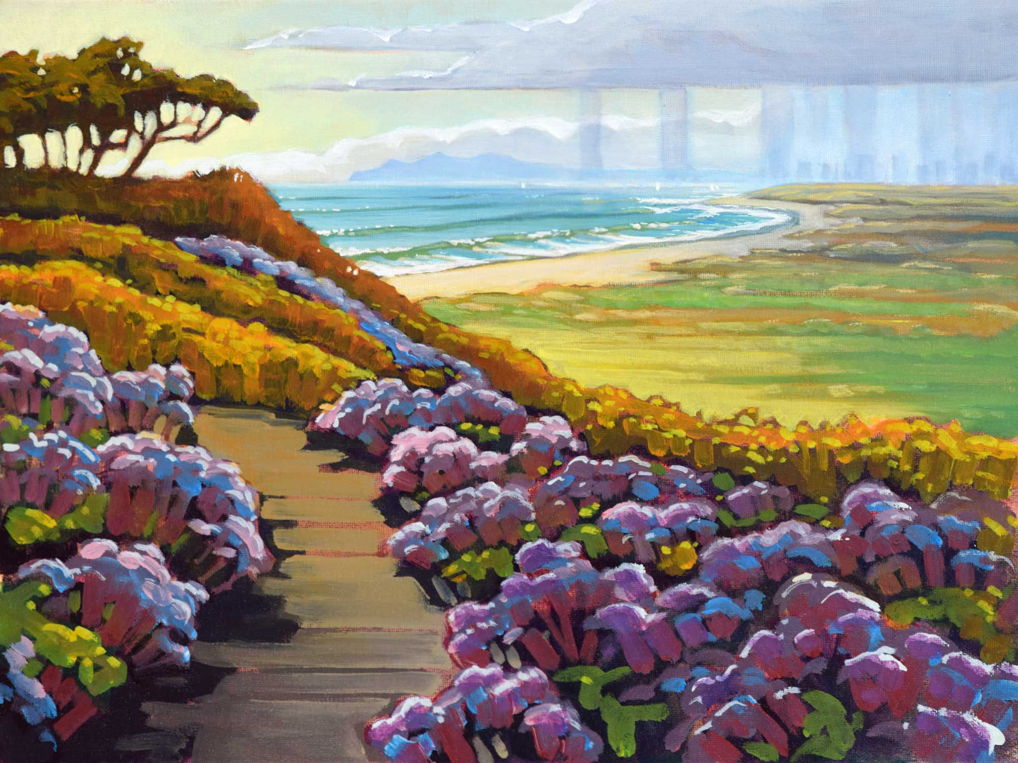 Plein air painting from the border between California and Mexico looking toward San Diego skyline in southern California
