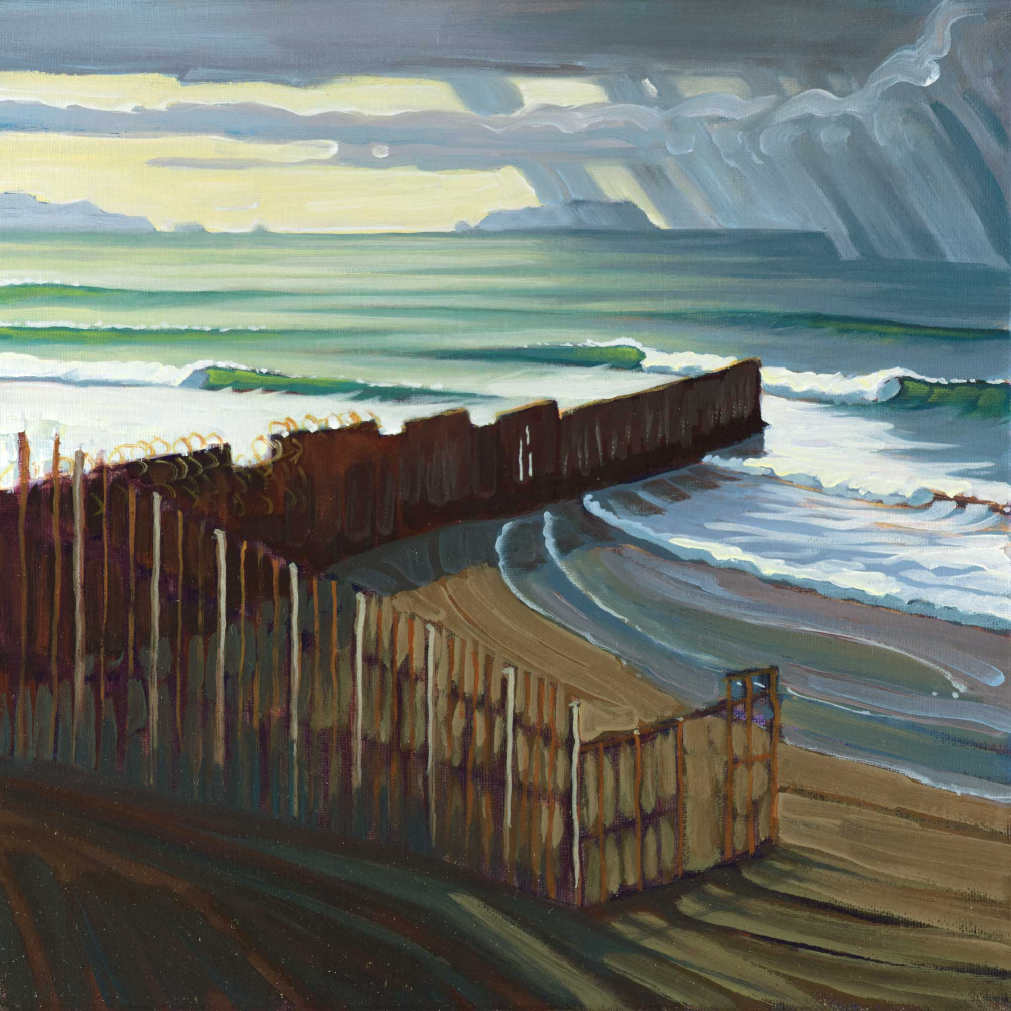 Plein air artwork the border fence between California and Mexico in San Diego county on the coast of southern California