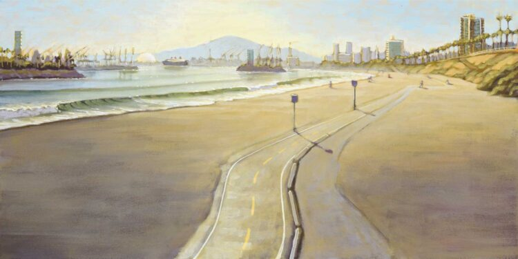 Plein air artwork of Belmont Shores in Long Beach on the Los Angeles county coast of Southern California