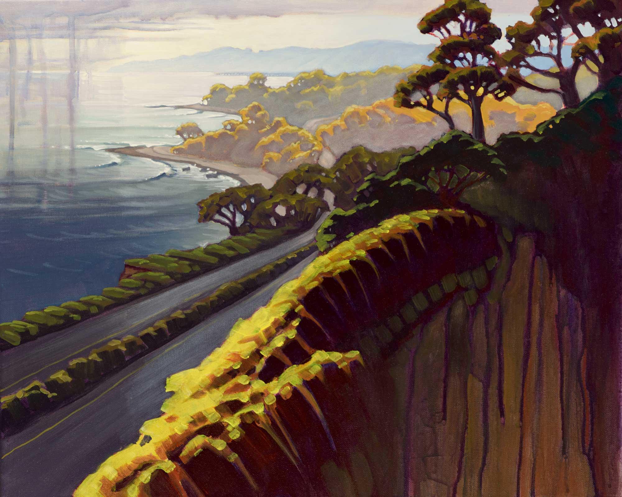 Plein air painting of Highway One near Carpenteria on the Santa Barbara coast of Southern California