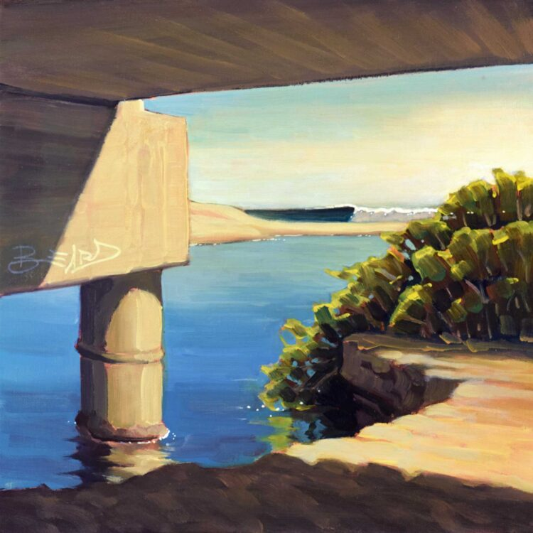 Plein air painting from under the Trestle at Upper's point on the San Clemente Coast of Southern California