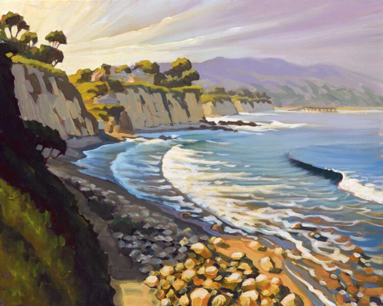 Plein air artwork of the coast at Little Dume on the Malibu coast of Los Angeles County, California