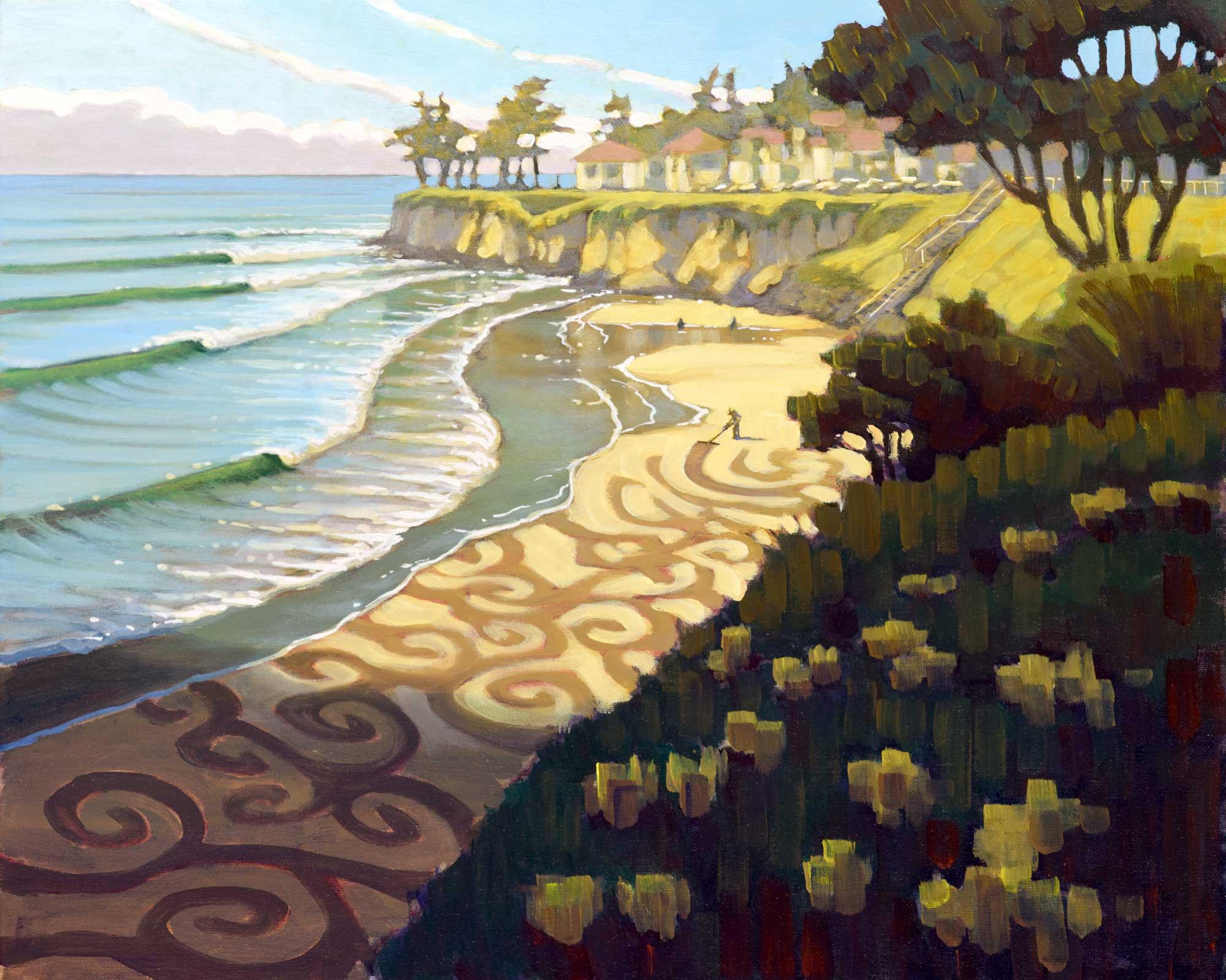Plein air painting of Jim Devevan creating landworks art at Cowell's Beach on the Santa Cruz coast of California