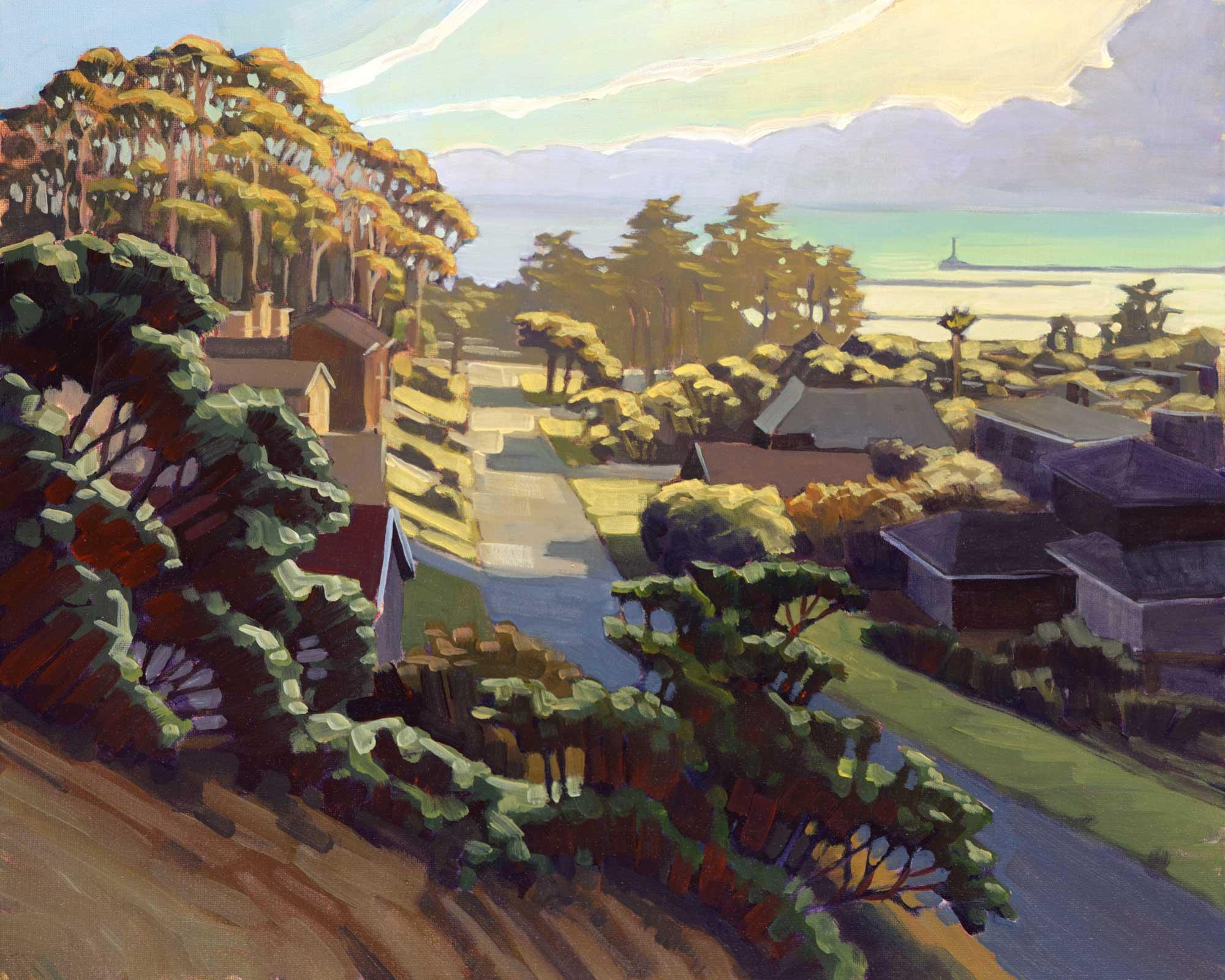 A plein air painting of a neigborhood overlooking Half Moon Bay on the San Mateo coast of California