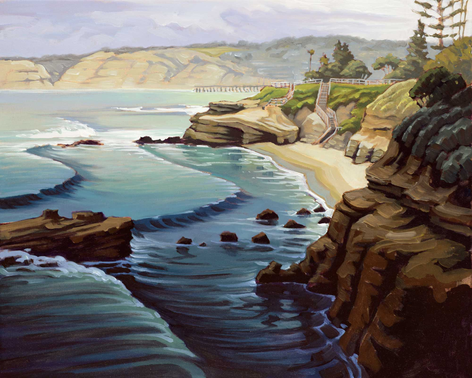 Plein air painting of a dark morning on the La Jolla coast of San Diego in Southern California