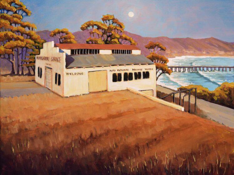 Plein air painting of the Borradori Garage near Cayucos on the central coast of California in San Luis Obispo county