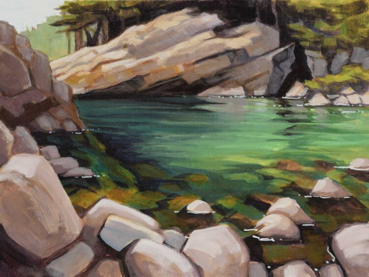 A plein air artwork painted beside the Smith River in Northern California