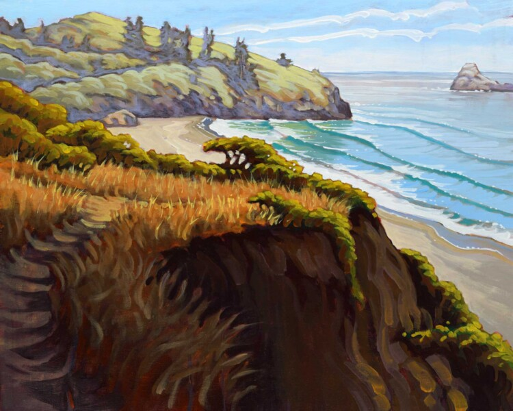 A plein air landscape of Trinidad State Beach and Trinidad Head on the Humboldt coast of northern California