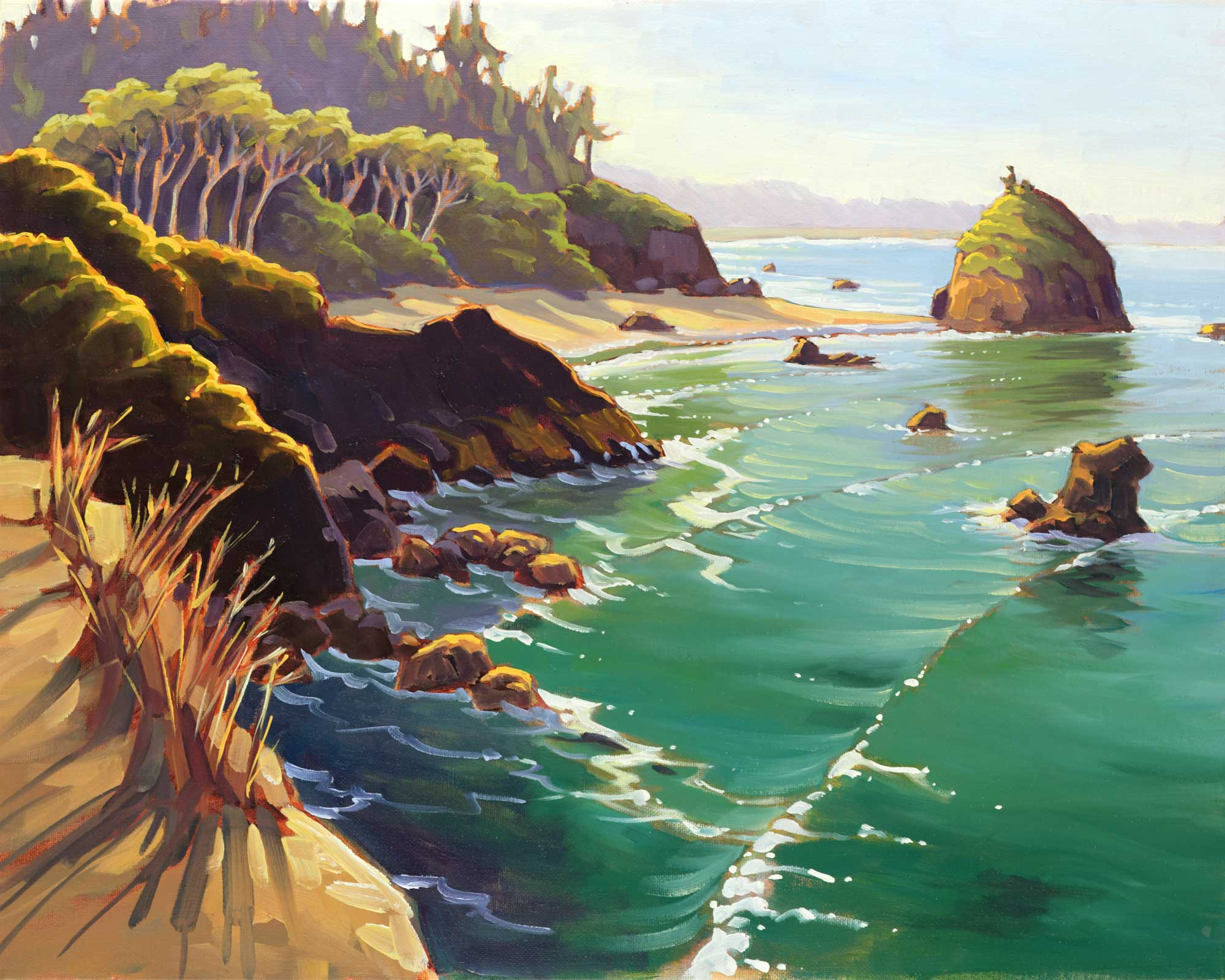 A plein air oil painting from Luffenholtz lookout on the Trinidad coast of Humboldt county in northern California