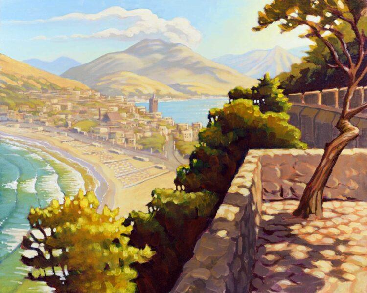 Plein ar painting overlooking Serrapo beach on the Italian coast near Gaeta