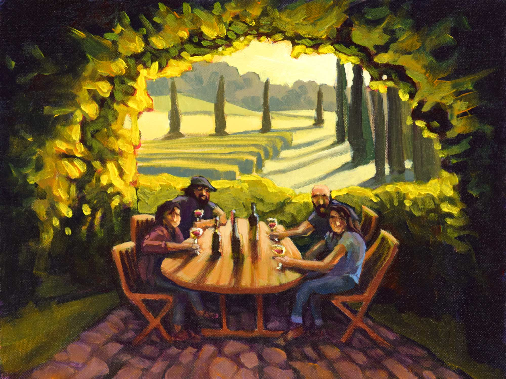 Plein air painting of friends at a table in Tuscany, Italy