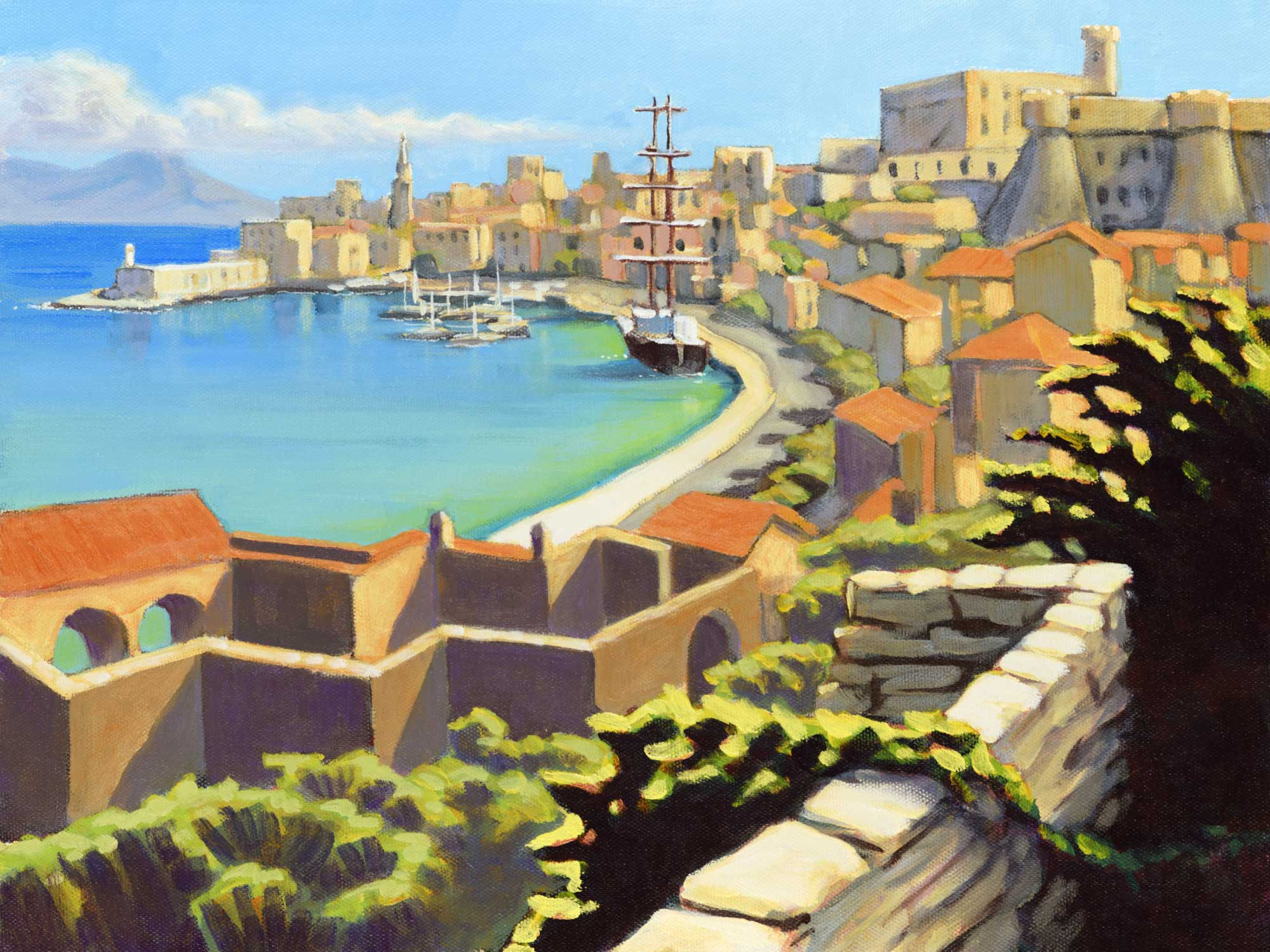 Plein air painting of the harbor and town at Gaeta, Italy