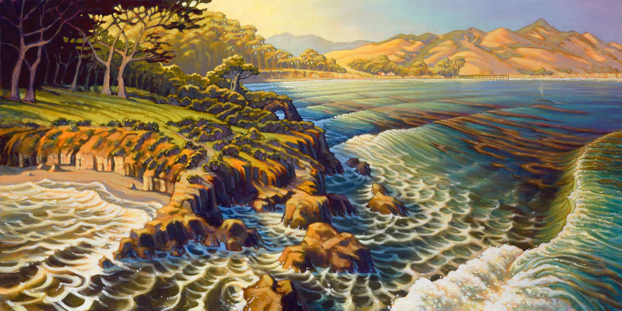 Aerial view artwork of San Simeon point and cove and Hearst Castle on the San Luis Obispo coast of California