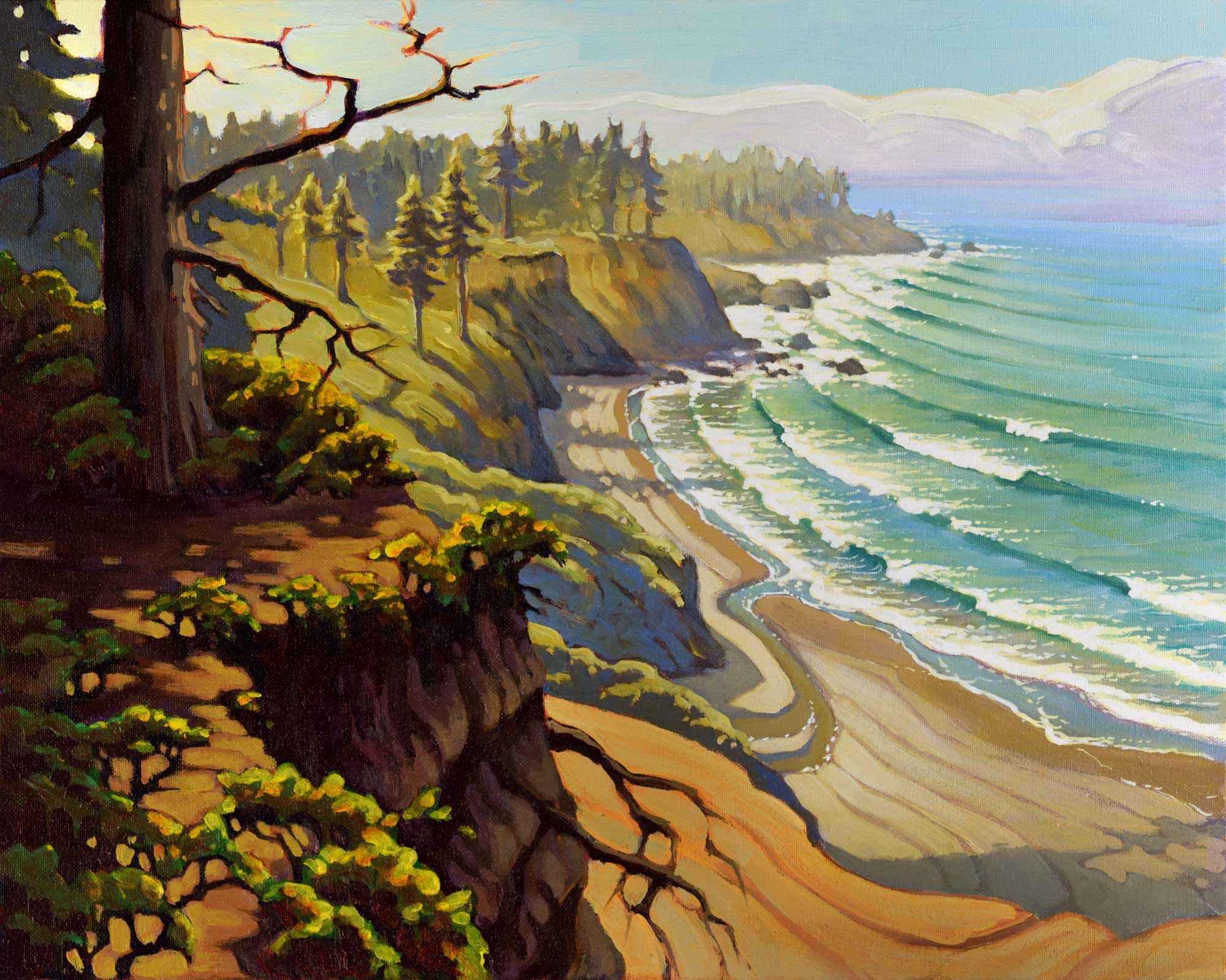 Plein air painting overlooking Patrick's Point State Park and Agate Beach on the Humboldt coast of northern California