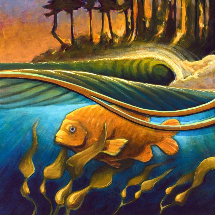 Painting of a garibaldi fish