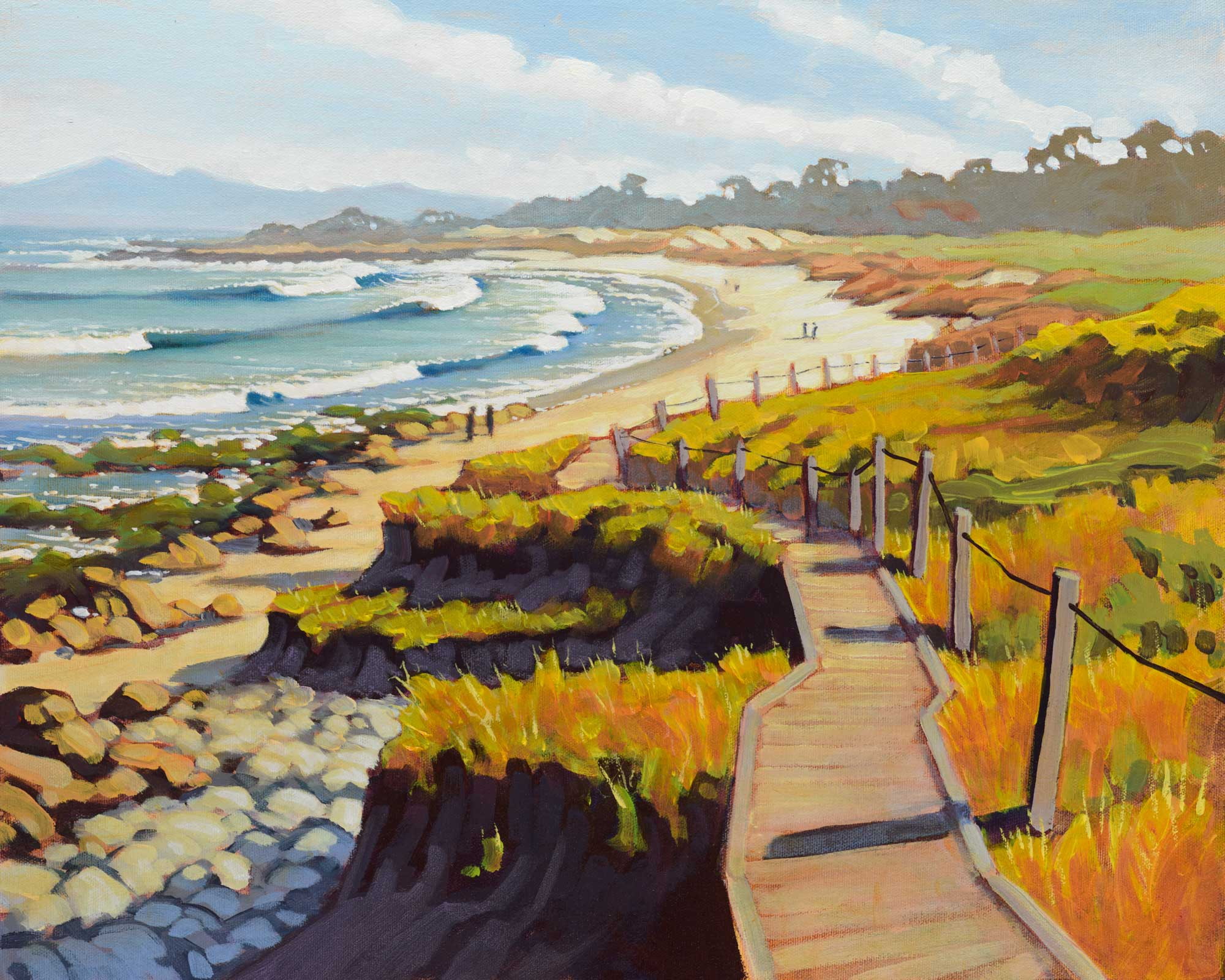 Plein air painting of Asilomar beach from Spanish Bay near Pacific Grove on the Monterey County coast of California
