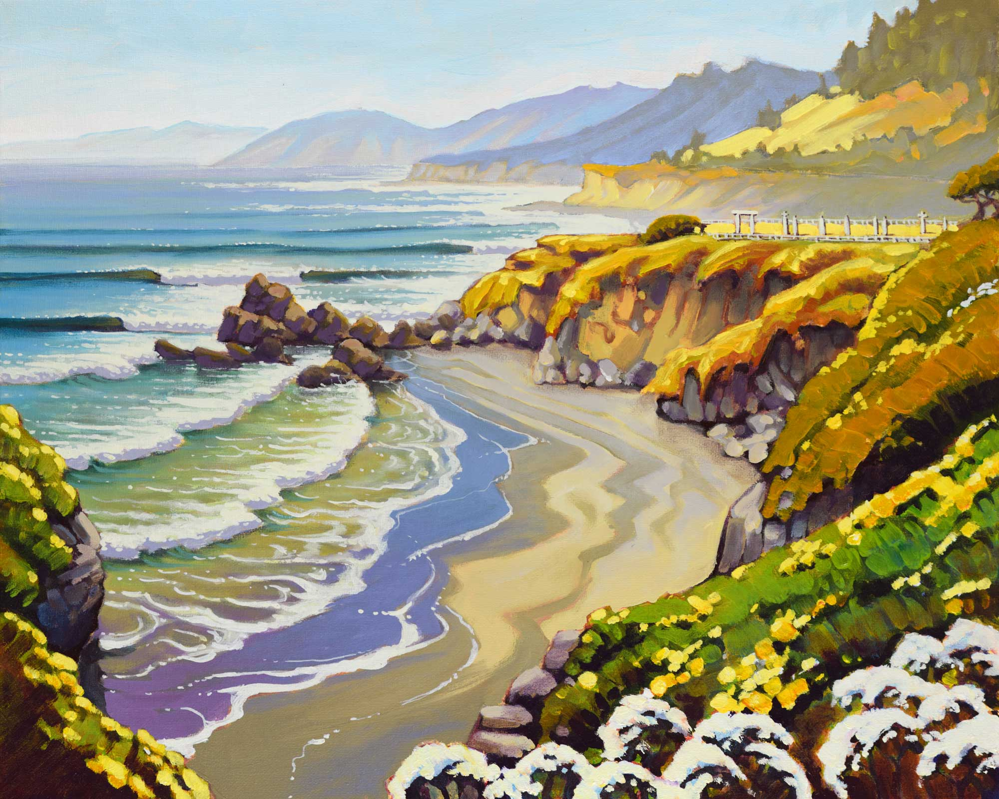 A plein air landscape painting of the beach and cemetery near Wages Creek on the Mendocino coast of California