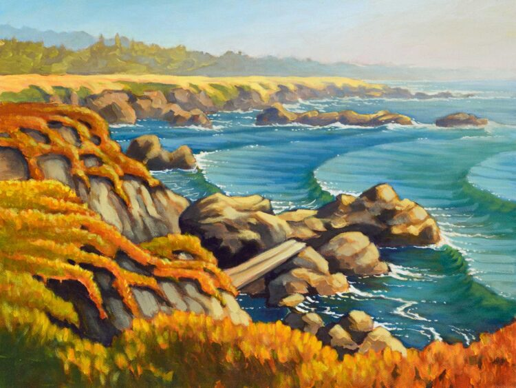 Plein air painting of iceplant and rocky shoreline at MacKerricher State Park on the Mendocino coast of California
