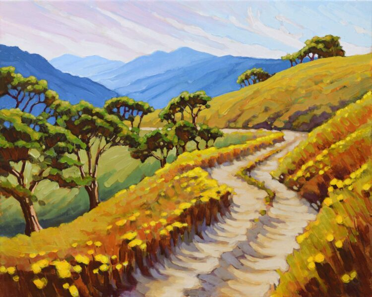 A plein air painting of a dirt road at Lyon's Ranch in the Bald Hills of Humboldt County, California