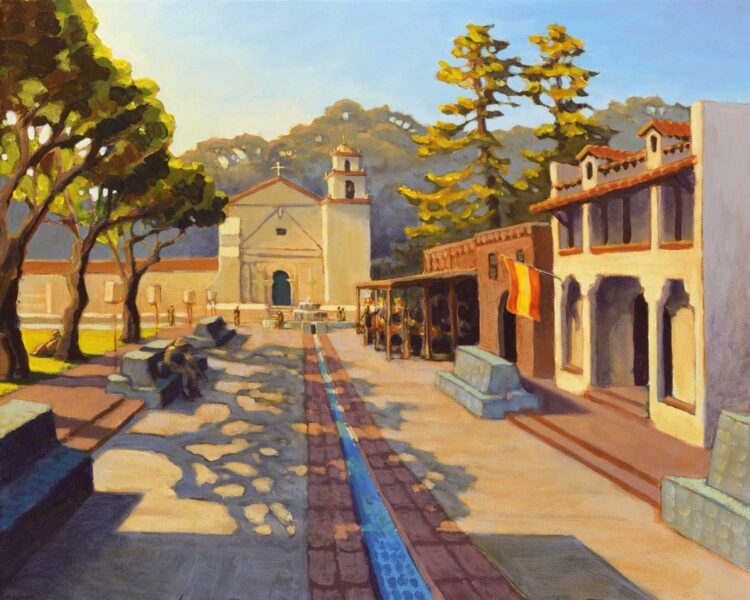 A plein air painting of the Ventura Mission and aqueduct fountain on the Southern California coast